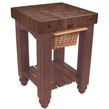 "John Boos Gathering Block with 4"" Thick End Grain Walnut Top and Pull Out Wicker Basket, 25"" W x 24"" D x 36"" H, Walnut Stain"