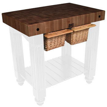 "John Boos Gathering Block II with 4"" Thick End Grain Walnut Top and 2 Pull Out Wicker Baskets, 36""W x 24""D x 36""H, Alabaster"
