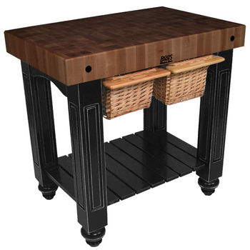 "John Boos Gathering Block II with 4"" Thick End Grain Walnut Top and 2 Pull Out Wicker Baskets, 36""W x 24""D x 36""H, Black"