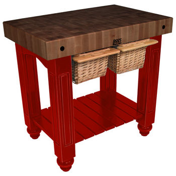 "John Boos Gathering Block II with 4"" Thick End Grain Walnut Top and 2 Pull Out Wicker Baskets, 36""W x 24""D x 36""H, Barn Red"