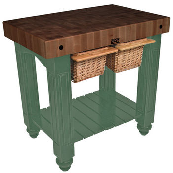 "John Boos Gathering Block II with 4"" Thick End Grain Walnut Top and 2 Pull Out Wicker Baskets, 36""W x 24""D x 36""H, Basil"