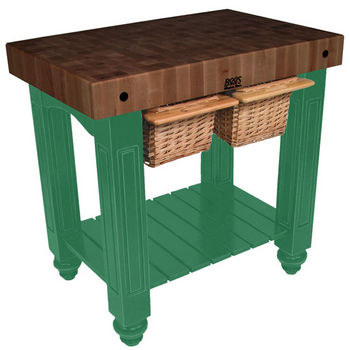 "John Boos Gathering Block II with 4"" Thick End Grain Walnut Top and 2 Pull Out Wicker Baskets, 36""W x 24""D x 36""H, Clover Green"
