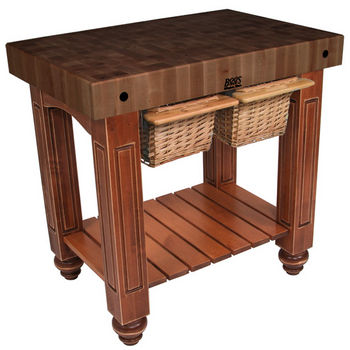 "John Boos Gathering Block II with 4"" Thick End Grain Walnut Top and 2 Pull Out Wicker Baskets, 36""W x 24""D x 36""H, Cherry Stain"