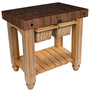 "John Boos Gathering Block II with 4"" Thick End Grain Walnut Top and 2 Pull Out Wicker Baskets, 36""W x 24""D x 36""H, Natural Maple"