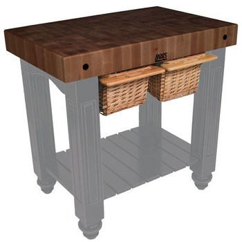 "John Boos Gathering Block II with 4"" Thick End Grain Walnut Top and 2 Pull Out Wicker Baskets, 36""W x 24""D x 36""H, Slate Gray"