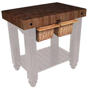 "John Boos Gathering Block II with 4"" Thick End Grain Walnut Top and 2 Pull Out Wicker Baskets, 36""W x 24""D x 36""H, Useful Gray Stain"