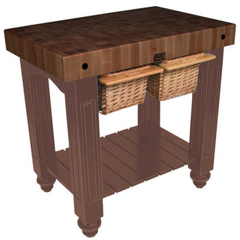 "John Boos Gathering Block II with 4"" Thick End Grain Walnut Top and 2 Pull Out Wicker Baskets, 36""W x 24""D x 36""H, Walnut Stain"