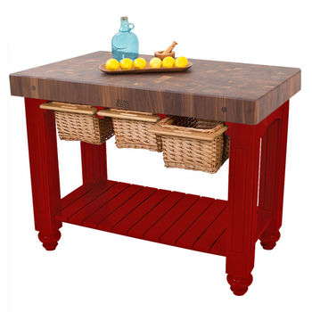 "John Boos Gathering Block III with 4"" Thick End Grain Maple Top and 3 Pull Out Wicker Baskets, 48""W x 24""D x 36""H, Barn Red"