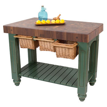 """John Boos Gathering Block III with 4"""" Thick End Grain Maple Top and 3 Pull Out Wicker Baskets, 48""""W x 24""""D x 36""""H, Basil"""