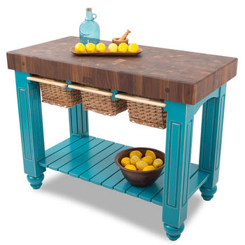 "John Boos Gathering Block III with 4"" Thick End Grain Maple Top and 3 Pull Out Wicker Baskets, 48""W x 24""D x 36""H, Caribbean Blue"