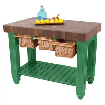 "John Boos Gathering Block III with 4"" Thick End Grain Maple Top and 3 Pull Out Wicker Baskets, 48""W x 24""D x 36""H, Clover Green"