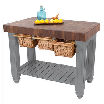 "John Boos Gathering Block III with 4"" Thick End Grain Maple Top and 3 Pull Out Wicker Baskets, 48""W x 24""D x 36""H, Slate Gray"