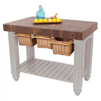 """John Boos Gathering Block III with 4"""" Thick End Grain Maple Top and 3 Pull Out Wicker Baskets, 48""""W x 24""""D x 36""""H, Useful Gray Stain"""