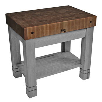 John Boos Kitchen Work Table Homestead Block with Walnut Top
