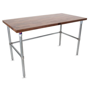 "John Boos 1-1/2"" Thick Walnut Top Work Table with Galvanized Base & Bracing, Varnique Finish"