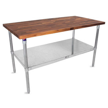 "John Boos 1-1/2"" Thick Walnut Top Work Table with Galvanized Base & Under Shelf, Oil Finish"