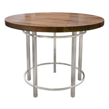 John Boos Walnut Metro Oasis Table, Varnique, with Brushed SS Base