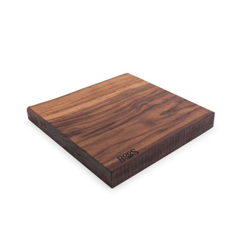 "John Boos Black American Walnut Rustic-Edge Design Reversible Cutting Board, 13""W x 12""D x 1-3/4""H"