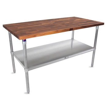 "John Boos 1-1/2"" Thick Walnut Top Work Table with Stainless Steel Base & Under Shelf, Oil Finish"
