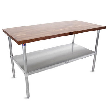 "John Boos 1-1/2"" Thick Walnut Top Work Table with Stainless Steel Base & Under Shelf, Varnique Finish"