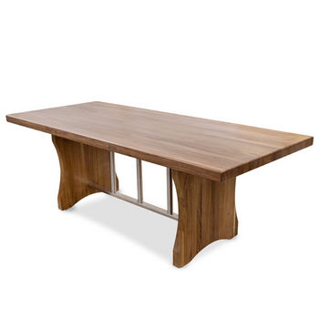 "John Boos Florence Dining Table with Stainless Steel Trestle Bar, Blended American Black Walnut, Varnique Finish, 84""W x 36""D x 30""H, 2-1/4"" Thick Top"