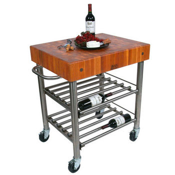 American Cherry Butcher Top Wine Cart Illustration