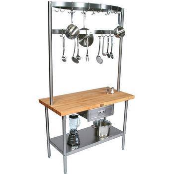 Cucina Grandioso Kitchen Cart with Overhead Pot Rack by John Boos
