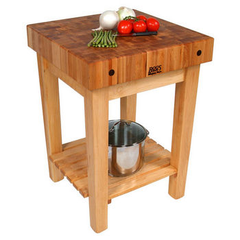"John Boos Butcher Block Cart with 4"" Thick End Grain Work Surface"