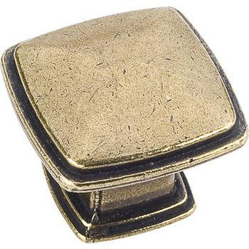 Jeffrey Alexander Milan 1 Collection 1-3/16'' W Plain Square Cabinet Knob in Distressed Antique Brass