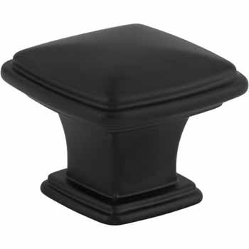 "Jeffrey Alexander Milan 1 Square Cabinet Knob in Matte Black, 1-3/16"" L"