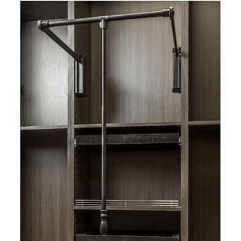 """Soft-Close Expanding Wardrobe Lift with Twist and Lock Adjustable Pole, Black Powder Coated Steel Tubing with Black Plastic Housing, 25-1/2""""W - 35""""W"""