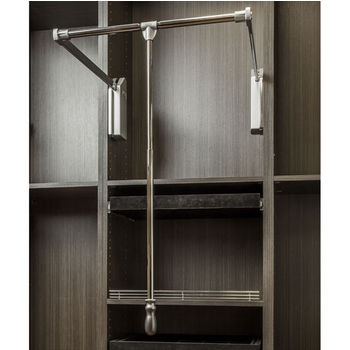 """Soft-Close Expanding Wardrobe Lift with Twist and Lock Adjustable Pole, Polished Chrome Steel Tubing with Silver Plastic Housing, 25-1/2""""W - 35""""W"""