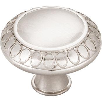 "Jeffrey Alexander Symphony Collection 1-3/8"" Diameter Art Deco Round Cabinet Knob in Satin Nickel"