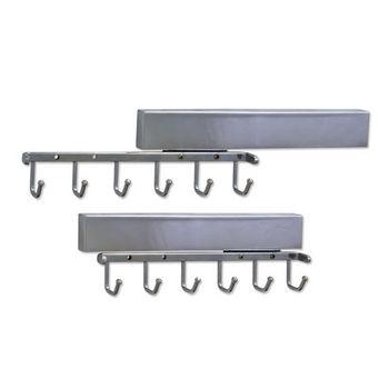 """Sliding Belt Rack, Polished Chrome, 6 Belt Hooks, 11-5/8"""" Length, 50mm Spacing"""