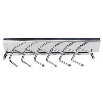 """Sliding Tie Rack, Polished Chrome, 6 Sets of Pegs to Hold 12 Ties, 11-5/8"""" Length"""