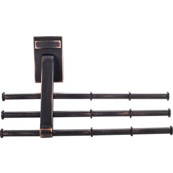 "Screw Mounted Tri-Level Tie/ Scarf Rack Organizer, Brushed Oil Rubbed Bronze, Holds 12 ties/scarfs, 6-3/4""W x 2""D x 4""H"