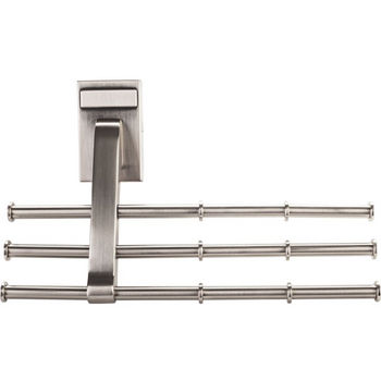 "Screw Mounted Tri-Level Tie/ Scarf Rack Organizer, Satin Nickel, Holds 12 ties/scarfs, 6-3/4""W x 2""D x 4""H"