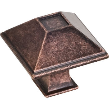 Jeffrey Alexander Tahoe Collection 1-1/4'' W Rustic Small Square Cabinet Knob in Distressed Oil Rubbed Bronze