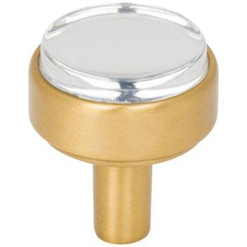 """Jeffrey Alexander Carmen Cabinet Knob in Brushed Gold, 1-1/8"""" D"""