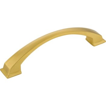 """Jeffrey Alexanders Roman Collection 6-1/4"""" W Decorative Cabinet Pull, 128 mm (5"""") Center to Center, Brushed Gold, 6-1/4"""" W x 1-7/8"""" D x 1-7/8"""" H"""