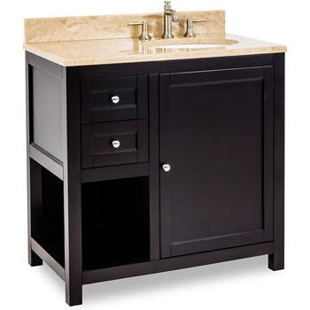 Jeffrey Alexander Astoria Modern Bathroom Vanity With Marble Top Sink Espresso 36 W X 22 D X