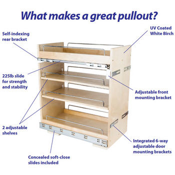 "Base Cabinet Pullout, Soft-close undermount slides on the bottom and Patent-pending top mounting bracket with heavy duty slide on the top, 8-1/2""W x 22""D x 24""H"