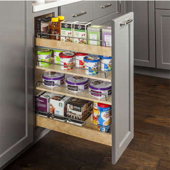"Base Cabinet Pullout, Soft-close undermount slides on the bottom and Patent-pending top mounting bracket with heavy duty slide on the top, 11-1/2""W x 22""D x 24""H"