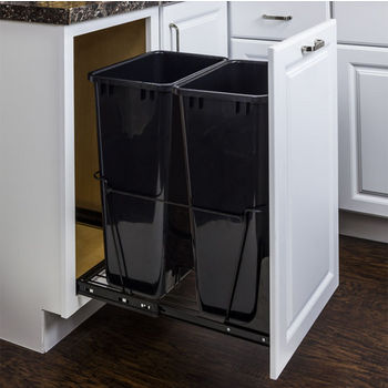 "Double Bin Bottom Mount Pullout Waste Container System, 50 Quart (12.5 Gallon), Heavy Duty Black Wire Construction, Cans Sold Separately, Min. Cab. Opening: 18""W"