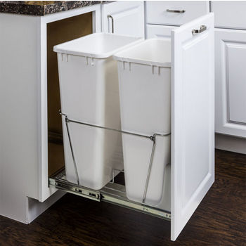 "Double Bin Bottom Mount Pullout Waste Container System, 50 Quart (12.5 Gallon), Heavy Duty Chrome Wire Construction, Cans Sold Separately, Min. Cab. Opening: 18""W"