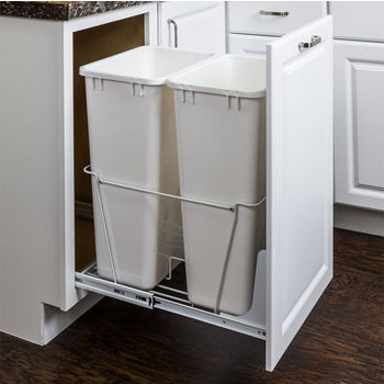 "Double Bin Bottom Mount Pullout Waste Container System, 50 Quart (12.5 Gallon), Heavy Duty White Wire Construction, Cans Sold Separately, Min. Cab. Opening: 18""W"
