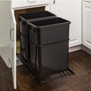 "Double Bin Bottom Mount Pullout Waste Container System, 35 Quart (8.75 Gallon), Heavy Duty Black Wire Construction, Cans Sold Separately, Min. Cab. Opening: 18""W"