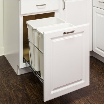 """Double Bin Bottom Mount Pullout Waste Container System, 35 Quart (8.75 Gallon), Heavy Duty Chrome Wire Construction, Cans Sold Separately, Min. Cab. Opening: 18""""W"""