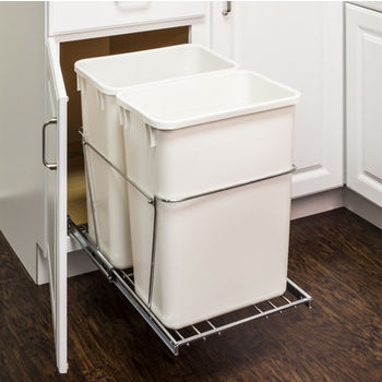 "Double Bin Bottom Mount Pullout Waste Container System, 35 Quart (8.75 Gallon), Heavy Duty Chrome Wire Construction, Cans Sold Separately, Min. Cab. Opening: 18""W"