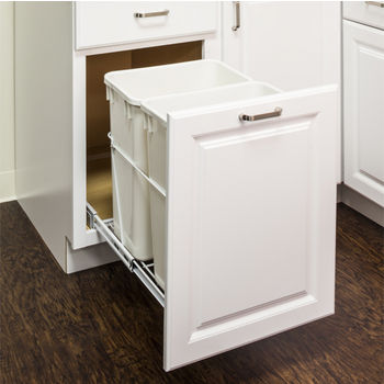 "Double Bin Bottom Mount Pullout Waste Container System, 35 Quart (8.75 Gallon), Heavy Duty White Wire Construction, Cans Sold Separately, Min. Cab. Opening: 18""W"